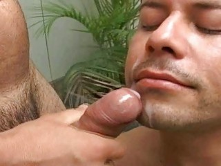Gay latino sucking dick and eating cum in the pool
