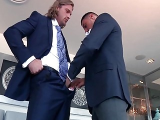 Fancy prostitute meets up with a handsome man for bareback gay sex