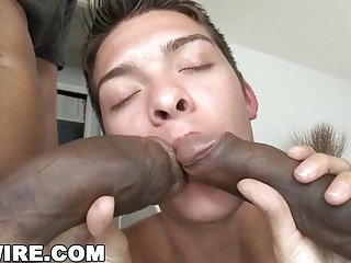 Greedy cock whore gets the pleasure of being banged by two guys