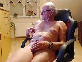 Grandpa's masturbating for his webcam audience