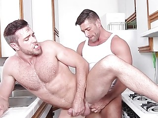 Alex Mecum and Bruce Beckham anal banging in the kitchen