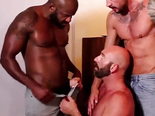 Interracial threesome with a hard black stud