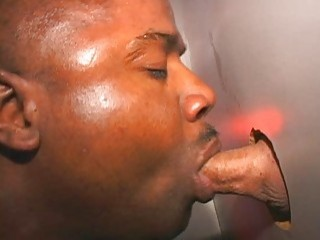 Black guy is so happy to get spunk on his face after gloryhole blowjob