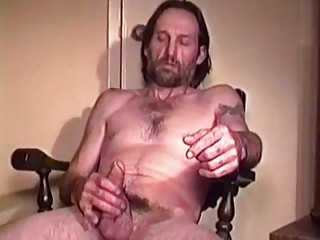 Older guy takes off his thong to work over his thick man meat