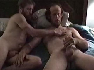 Two older gays kiss and suck each other before finishing by hand