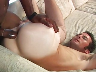 Babe's white ass plowed by chocolate cock