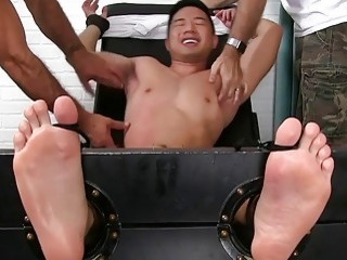 Ripped Asian can't fight against this tickling
