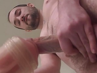 Dude's first try with a fleshlight is hot