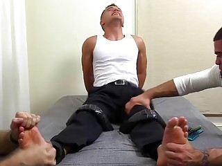 Jock in a shirt and tie stripped and threeway tickled