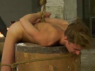 Tied up twink tormented with hot wax and banged hardcore