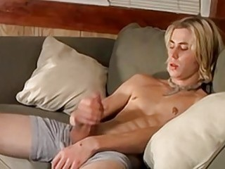 Dashing blond jock teases with his body and jerks off