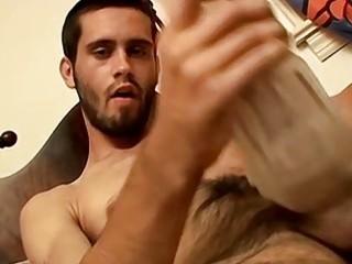 Jock uses a fleshlight to stroke his rock hard dick