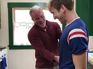 Grandpa bonks a hot twink lad in the kitchen