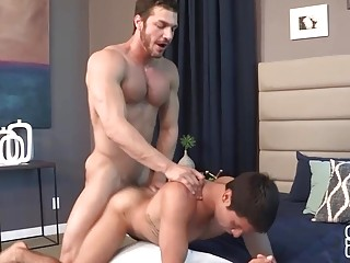 Hot guys get in doggy style position for anal sex