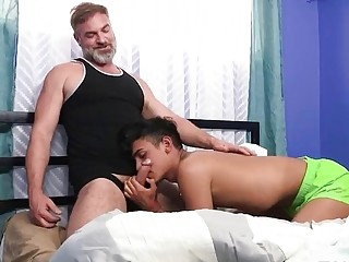 Daddy is showing this exchange student what pleasure feels like