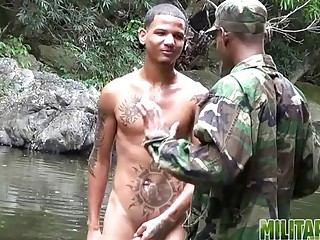 Latino gets blown outdoors by gay military troop