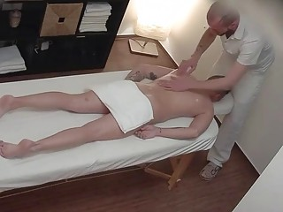 Wife calls after massage turns to a gay ass fucking