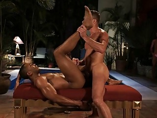 Group of gay black guys in threesome with alpha