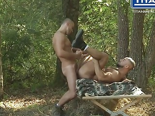 Darius Falke and Francois Sagat have outdoor gay sex
