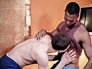 Chocolate god uses his dick to make this white boy moan