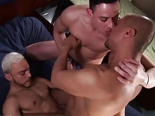 Hardcore gay threesome with some rosebud action