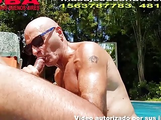 Retired older guys are fucking by the pool