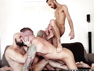 Gay video featuring a group of dudes fucking bareback