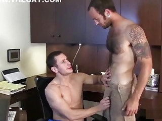 Slut with big cock takes gay friends thick cock