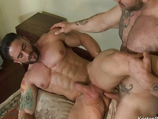 Ripped hunks Max Hilton and Robin Sanchez bust a nut