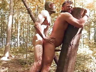 Bo Sinn and Jeremy Spark play BDSM games in the woods