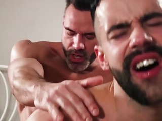 Teddy Torres and Manuel Skye push each other over