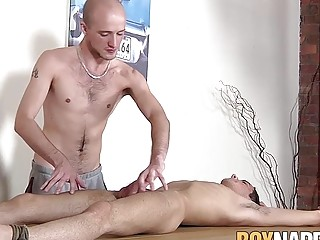 Punishment for bound twink with sucking