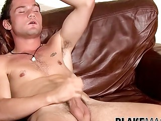 Amateur British man touches his penis